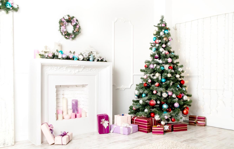 Photo wallpaper holiday, gift, balls, tree, gifts, New year, fireplace, Christmas decorations, herringbone, New Year
