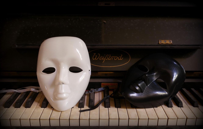 Photo wallpaper background, piano, mask
