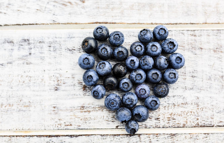 Photo wallpaper berries, blueberries, love, fresh, heart, wood, romantic, blueberry, blueberries