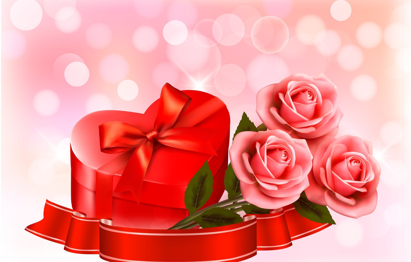 Photo wallpaper flowers, holiday, roses, hearts, Valentine's day