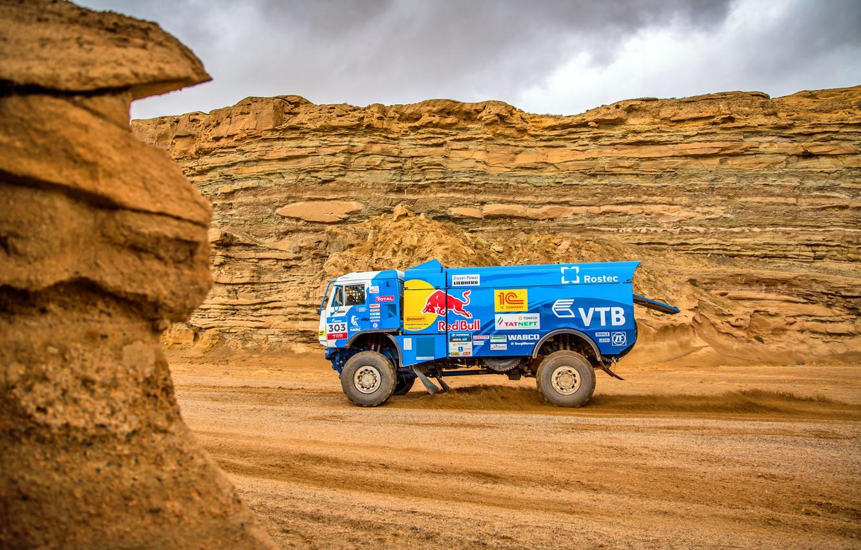 Photo wallpaper Sand, Sport, Desert, Speed, Stones, Truck, Race, Master, Hills, Russia, Kamaz, Rally, Rally, KAMAZ, The …