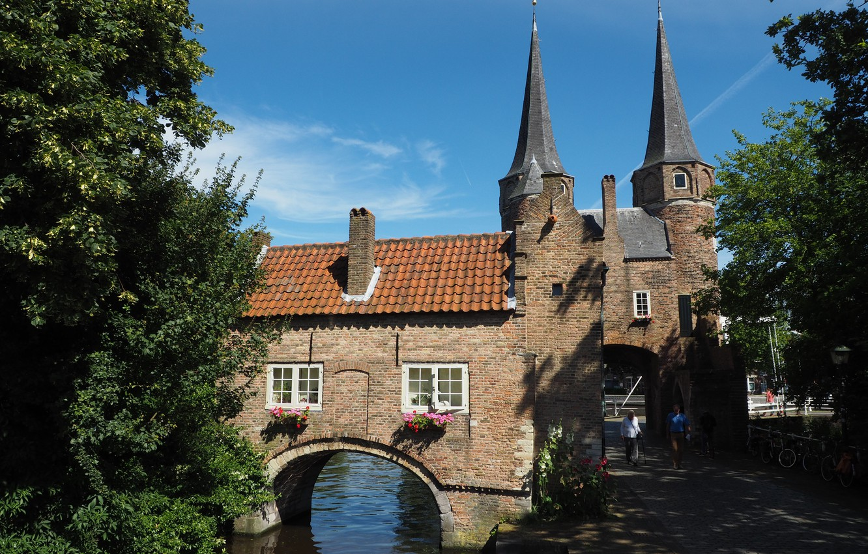 Photo wallpaper Netherlands, Architecture, Netherlands, Architecture, South Holland, Eastern Gate, Delft, Oostpoort, Delft, River Skhi