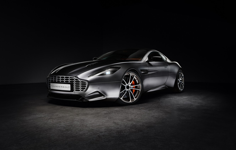 Photo wallpaper Aston Martin, Black background, Silver, Thunderbolt, 2015, galpin