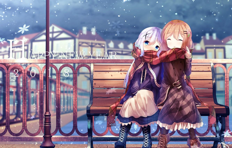 Wallpaper Winter Girls Art Gochuumon Wa Usagi Desu Ka Images