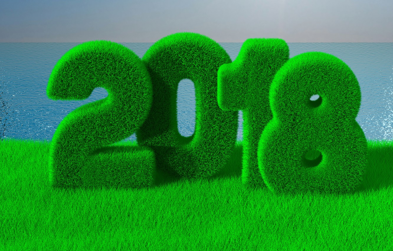 Photo wallpaper sea, greens, grass, rendering, new year, Christmas, horizon, figures, 2018