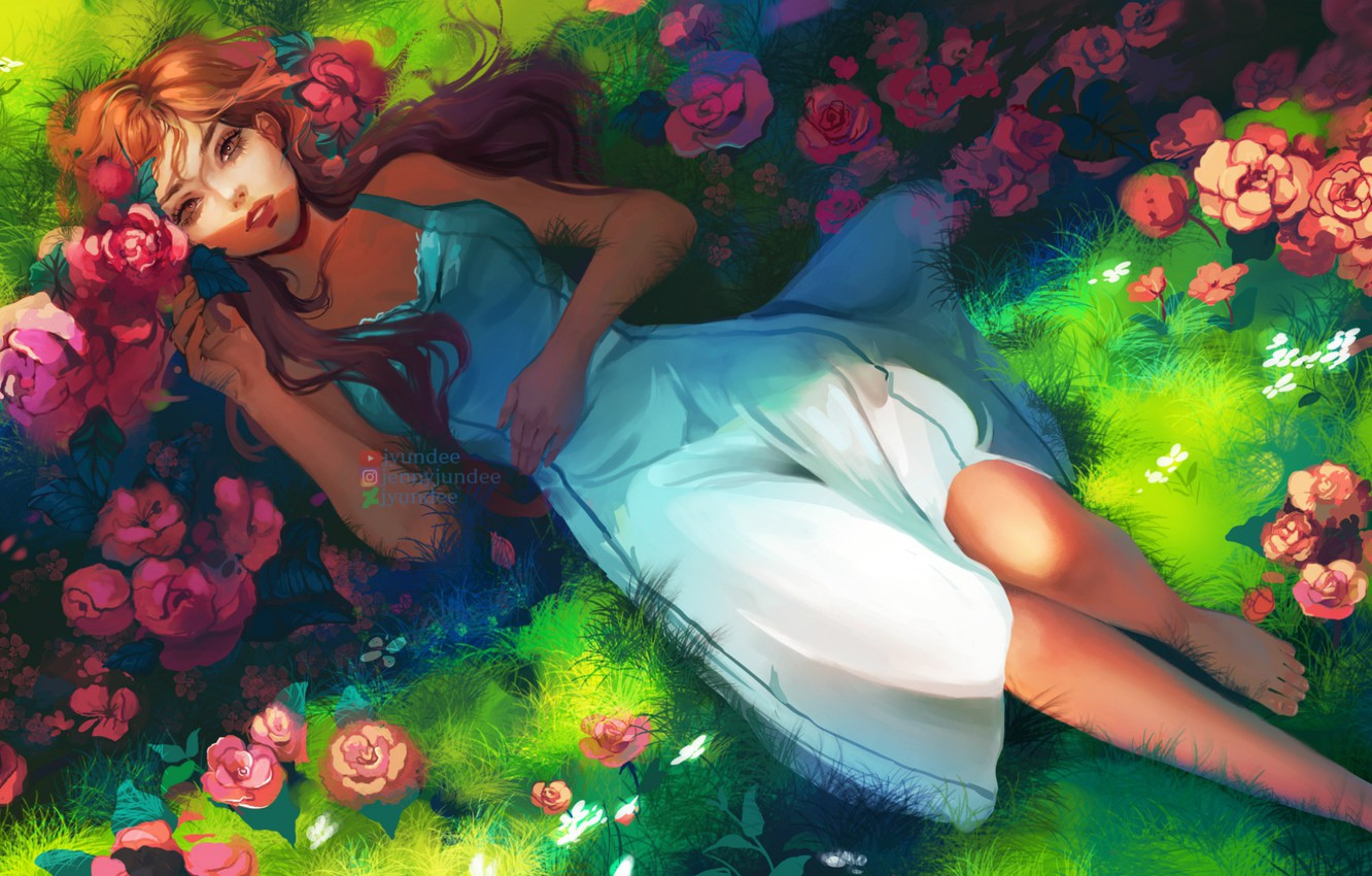 Photo wallpaper summer, grass, lies, red, art, sundress, red roses, barefoot, Jyundee