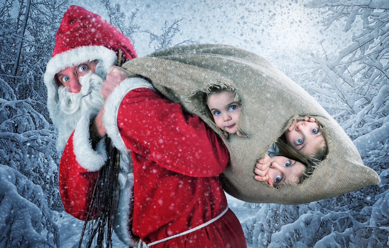 Photo wallpaper Snow, New Year, Children, Christmas, Girls, Santa Claus, Santa Claus