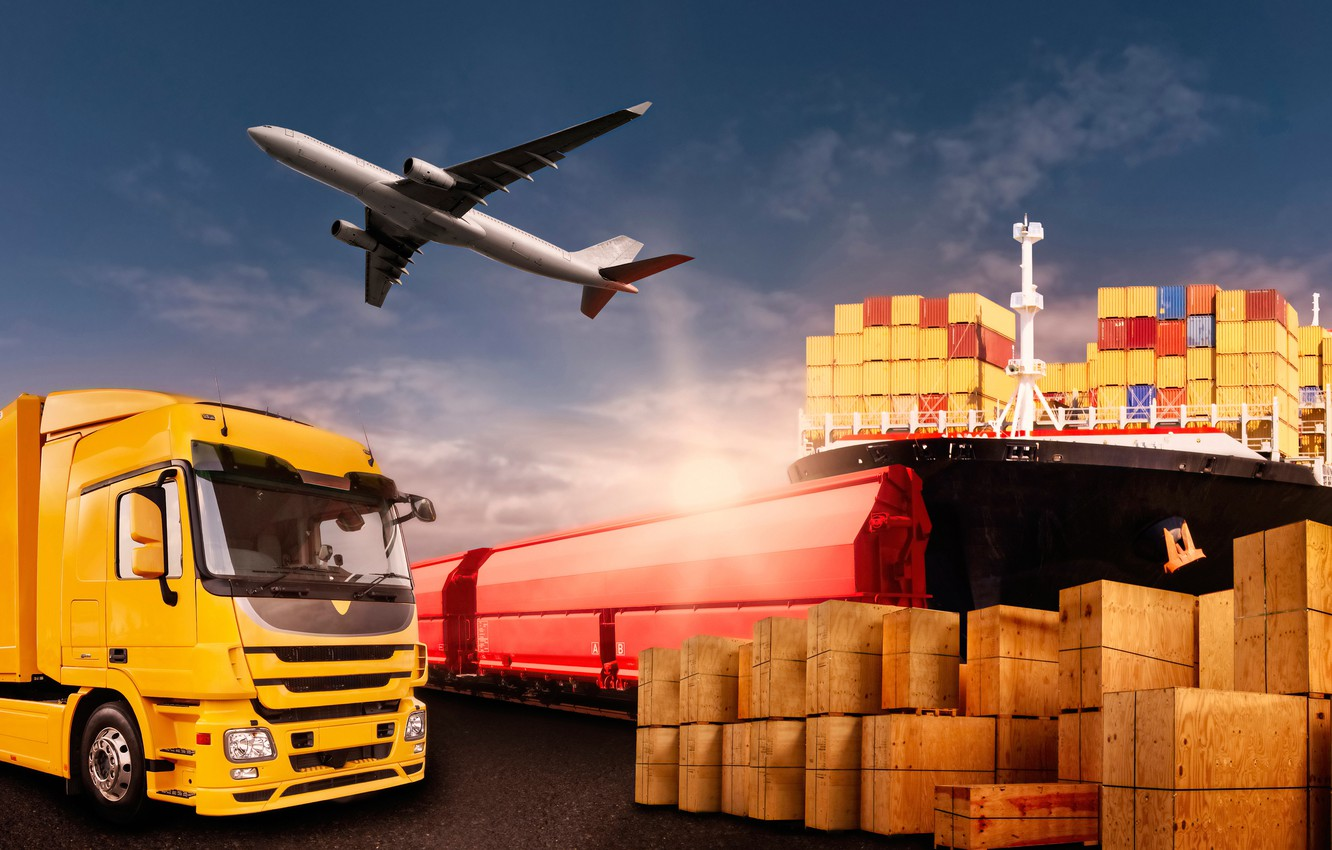 Photo wallpaper the sky, red, yellow, ship, photoshop, train, port, truck, boxes, the plane, container