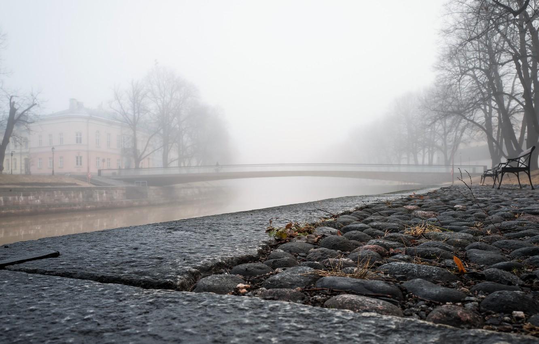 Photo wallpaper the city, fog, river, bench