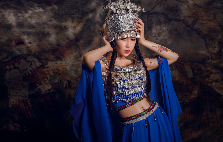 Photo wallpaper pose, style, background, model, tattoo, outfit, Asian, braids, headdress