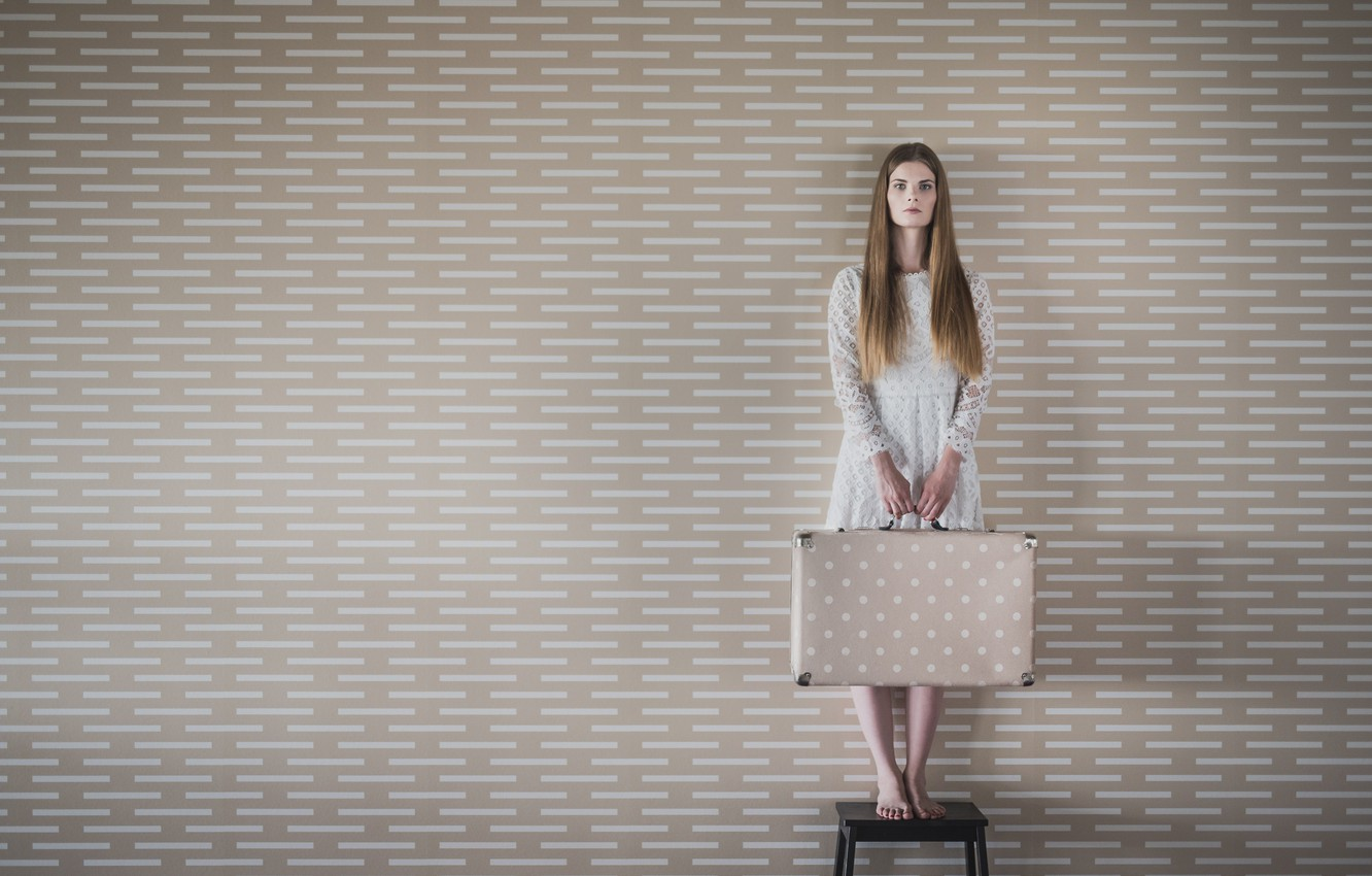 Photo wallpaper girl, wall, suitcase