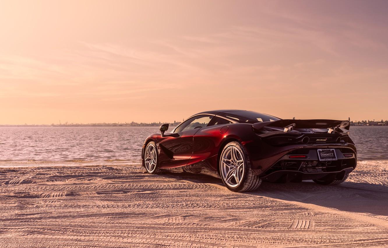 Photo wallpaper beach, McLaren, supercar, rear view, 2018, MSO, 720S