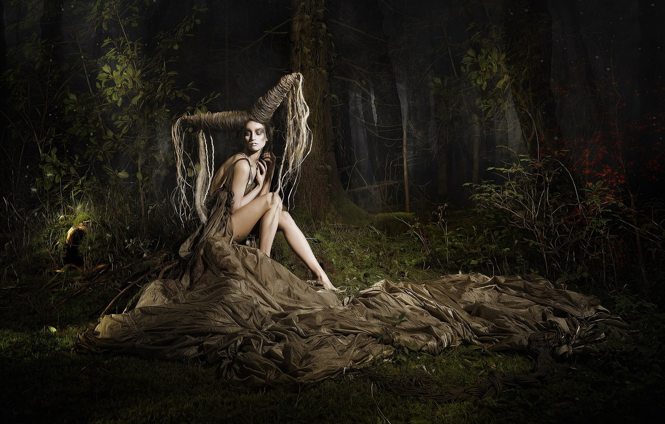 Photo wallpaper forest, girl, pose, fantasy, the situation, hairstyle, HELICOPTERS