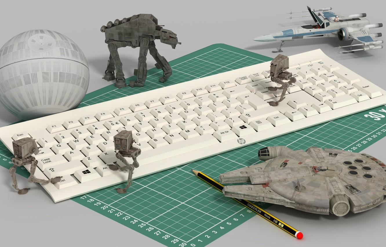 Photo wallpaper toys, Keyboard, star wars