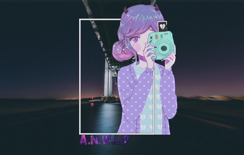 Photo wallpaper girl, night, bridge, the city, anime, the camera, madskillz, madskillz anime