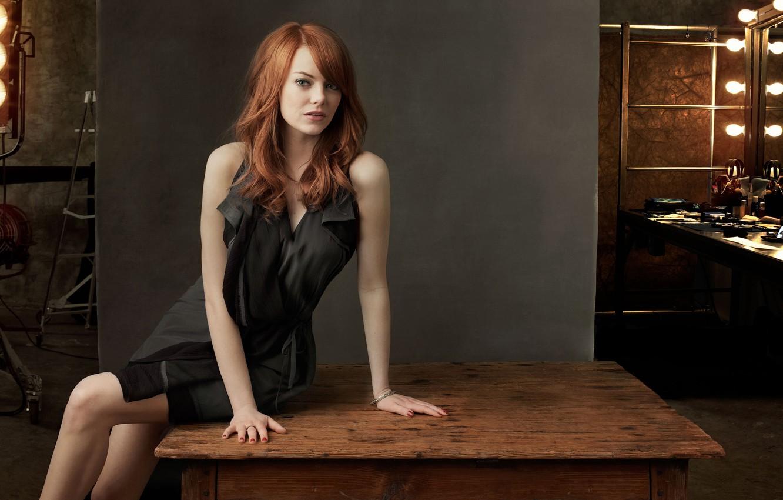 Photo wallpaper table, dress, actress, red, Emma Stone, Emma Stone