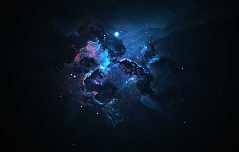 Wallpaper Space Stars Light Blue Nebula Pink Dark Light Ruffle Art Dark Space Nebula Darkness Space Art Images For Desktop Section Kosmos Download