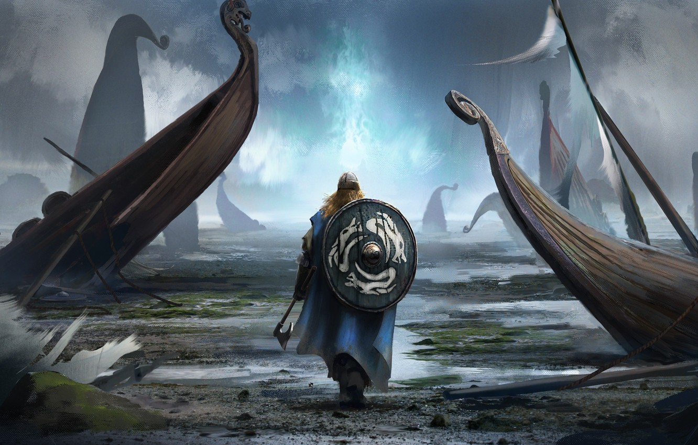 Photo wallpaper axe, man, viking, shield, pearls, bolt, viking cataclysm