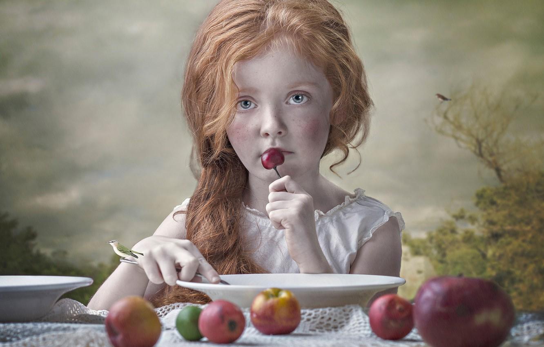Photo wallpaper mood, apples, girl, plates, red, bird, redhead, cherry