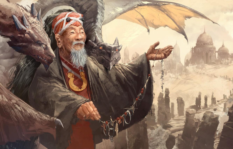 Photo wallpaper fantasy, old, man, artist, asian, digital art, artwork, fantasy art, elder, dragons, necklace, master, dome, …