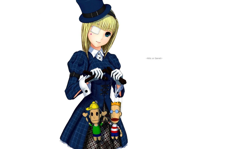 Photo wallpaper doll, hat, girl, white background, gloves, art, eye patch, cuff, puppets, blue coat, moyacy