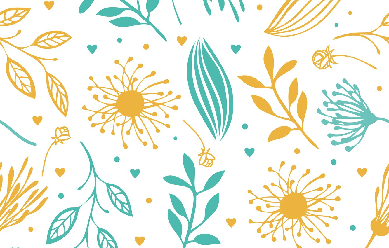 Wallpaper Flowers Texture Abstract Yellow Blue Background