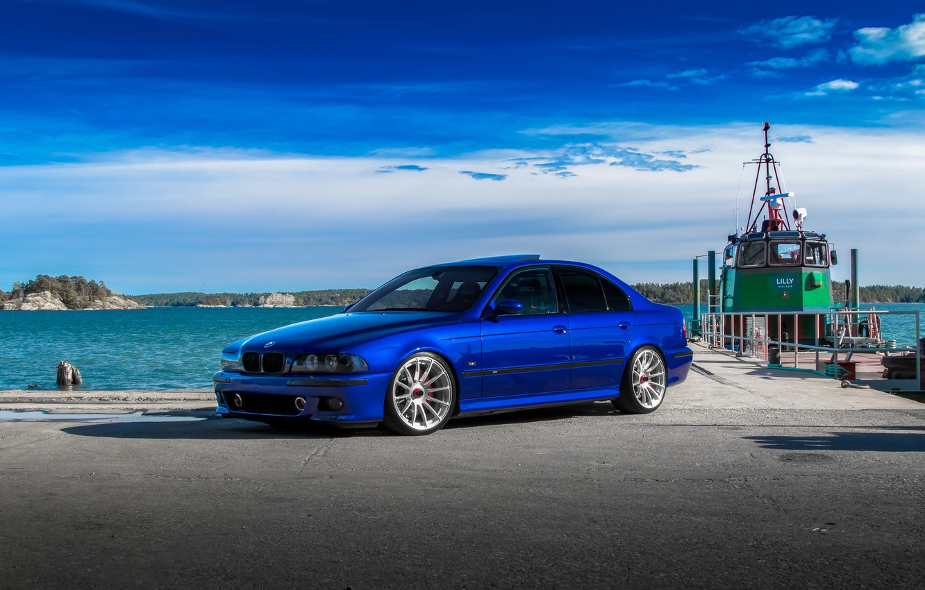 Photo wallpaper BMW, Blue, E39