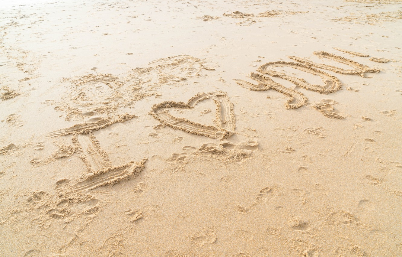 Photo wallpaper sand, sea, beach, love, heart, love, beach, I love you, sea, heart, romantic, sand