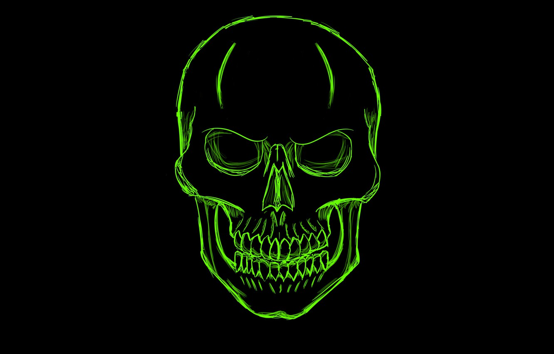 Photo wallpaper green, skull, minimalism, head, skeleton, sake