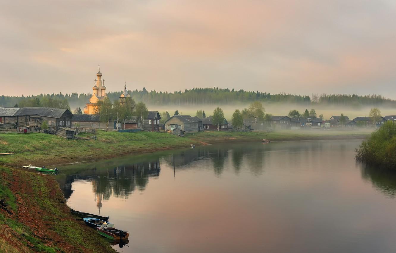 Photo wallpaper fog, morning, village, Arkhangelsk oblast, Kimzha