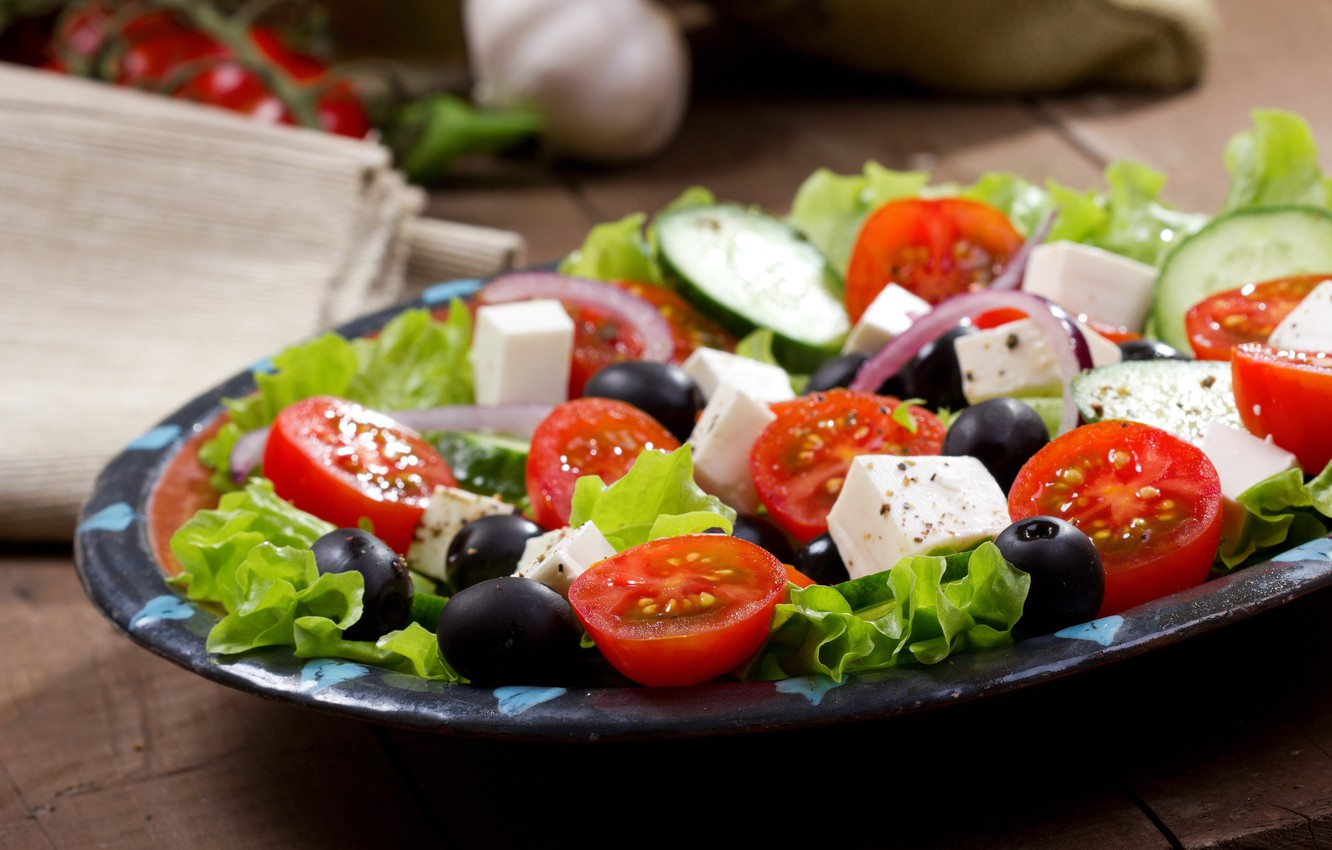Photo wallpaper bow, tomato, salad, olives, Greek, cheese