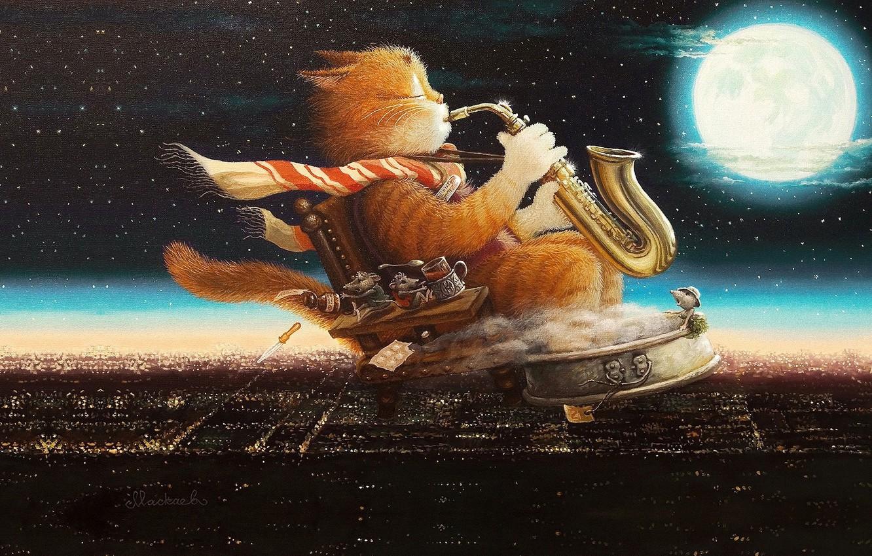 Photo wallpaper cat, night, the moon, figure, tale, art, children's, Tales of the cat Kuzma, Alexander Maskaev