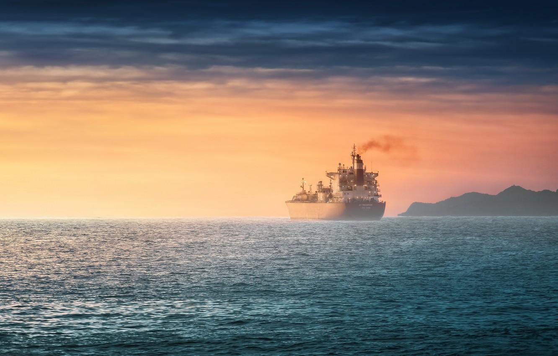 Photo wallpaper sea, sunset, ship