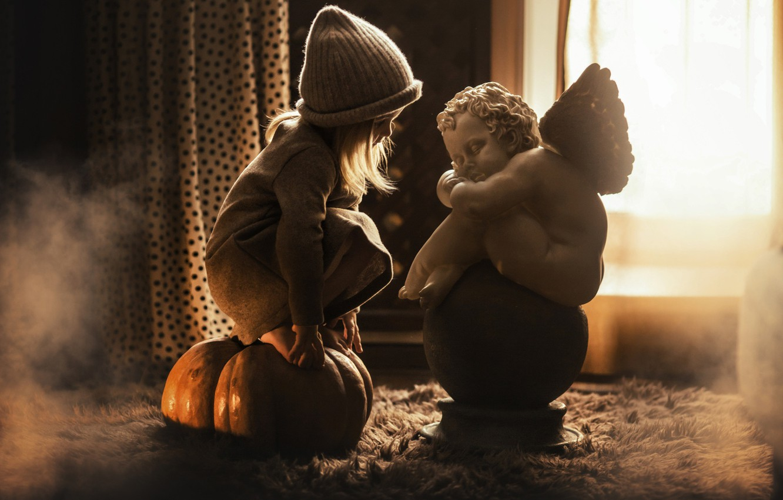 Photo wallpaper hat, angel, girl, pumpkin, sculpture