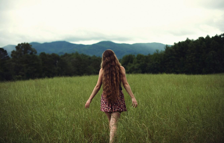 Photo wallpaper field, grass, girl, Free, curls, NoelleBuske