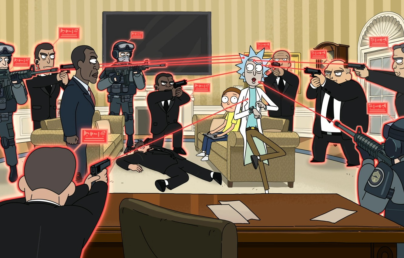 Photo wallpaper Weapons, President, the cartoon series, Guns, Cartoon, Cartoon, President, Rick and Morty, Rick and Morty, …