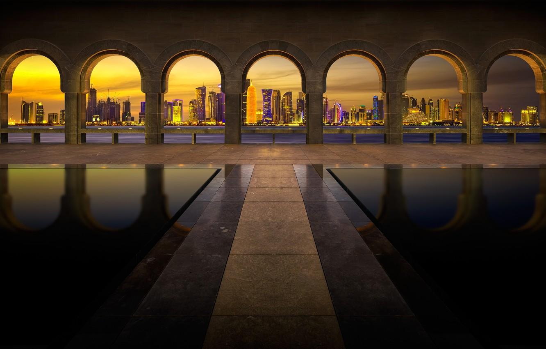 Photo wallpaper night, lights, home, Dubai, arch, UAE