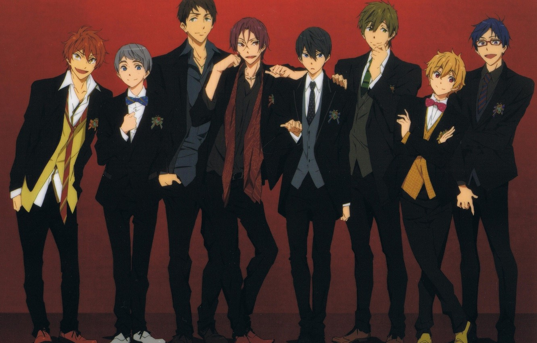 Photo wallpaper shoes, glasses, costume, tie, guys, friends, art, bow tie, Nanase Haruka (Free!), Matsuoka Rin, Hazuki …