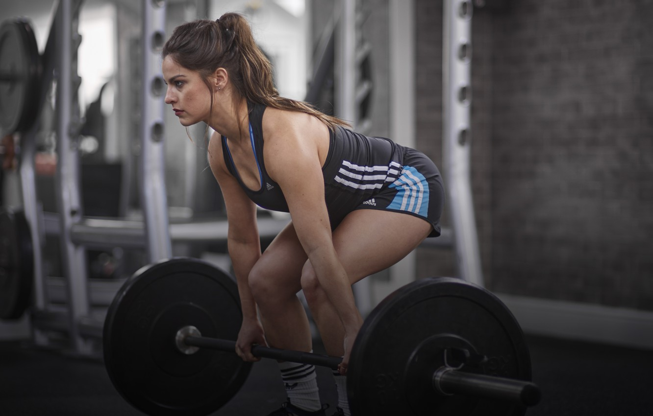 Photo wallpaper girl, workout, fitness, gym