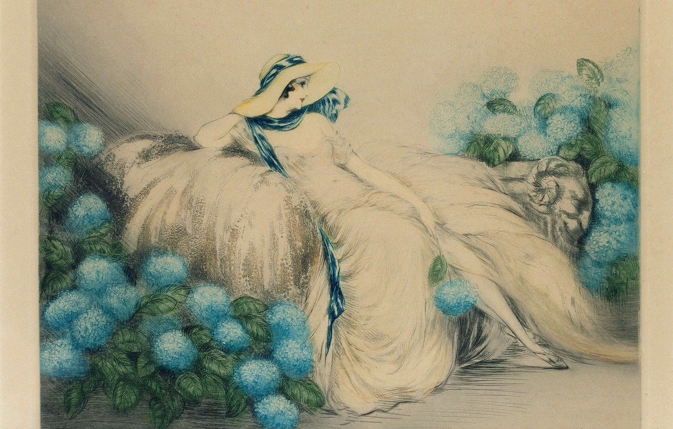 Photo wallpaper 1933, Louis Icart, Lady with blue flowers
