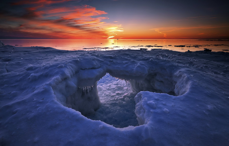 Photo wallpaper winter, sunset, lake, ice, Canada, Ontario, Algoma