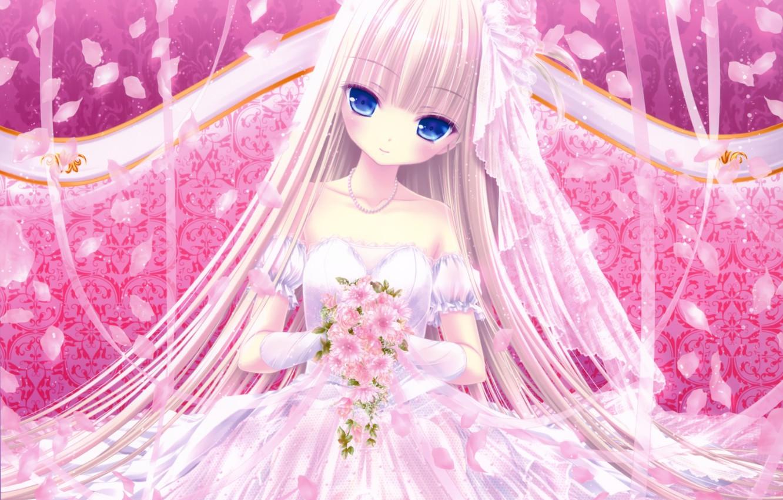 Photo wallpaper sofa, bouquet, lace, blue eyes, the bride, veil, art, wedding dress, ruffles, Tinkerbell, lipesti, long …