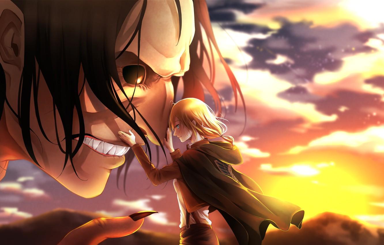 Photo wallpaper girl, anime, art, friends, Titan, Attack on Titan, Attack of the titans, Shingeki no Kyoj