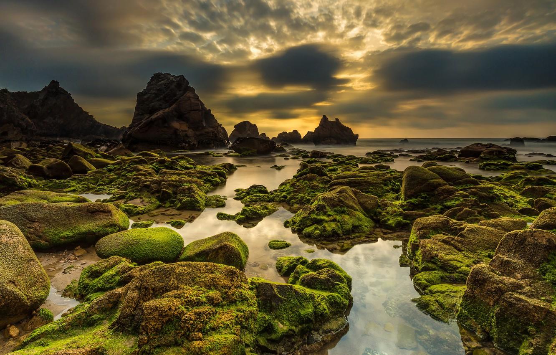 Photo wallpaper sea, the sky, sunset, stones, coast, moss, horizon, Portugal, Sintra, Praia da Ursa