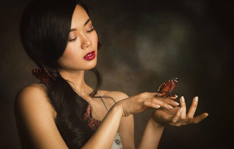 Photo wallpaper girl, background, mood, butterfly, hands, makeup, Asian