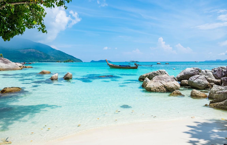 Photo wallpaper The sun, Nature, Sea, Beach, Boat, Summer, Tropics