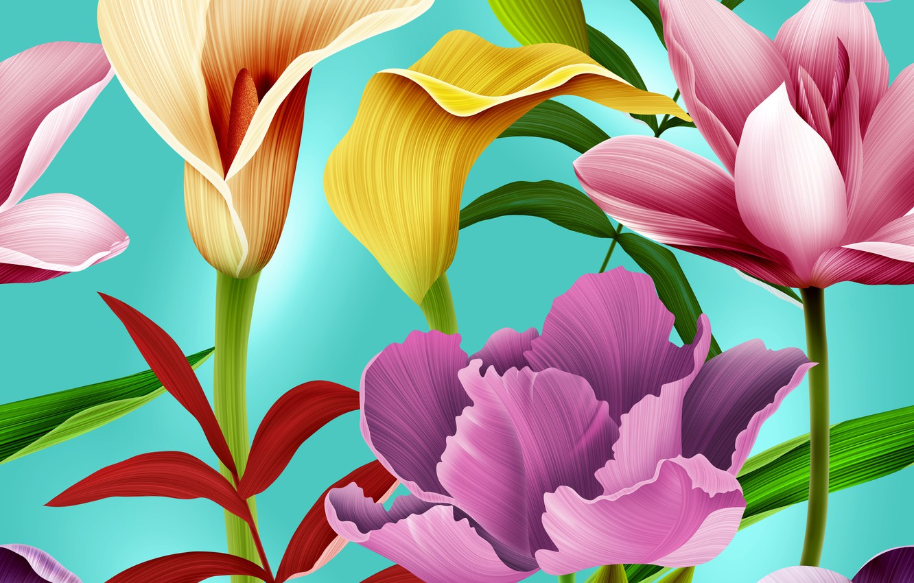 Photo wallpaper Flowers, pattern, pattern, seamless, Floral, seamless