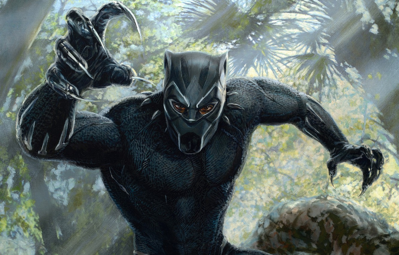 Photo wallpaper forest, black, figure, mask, jungle, art, costume, claws, Black Panther, Black Panther