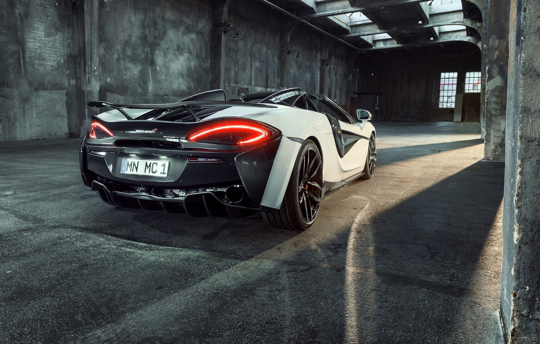 Photo wallpaper lights, McLaren, rear view, 2018, Spider, Novitec, 570S