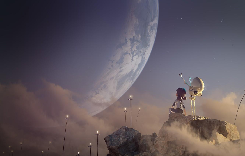 Photo wallpaper rendering, fiction, planet, art, Android, children's, 3D, 2D, Glenn Melenhorst, A.Woo. Planet